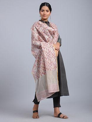 Ivory-Red Block-printed Chanderi Duppata with Zari