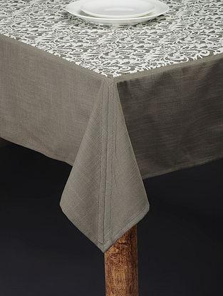 Grey Printed Cotton Slub Table Cover (90in x 60in)
