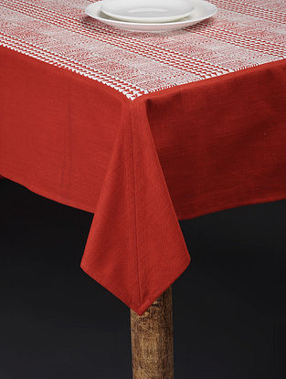 Red-White Printed Cotton Slub Table Cover (90in x 59in)