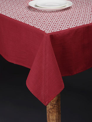 Red-White Printed Cotton Slub Table Cover (90in x 60in)