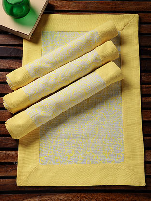 Yellow-White Printed Cotton Slub Place Mats (Set of 4) (19in x 13in)