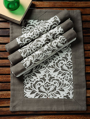 Grey-White Printed Cotton Slub Place Mats (Set of 4) (18.5in x 13in)