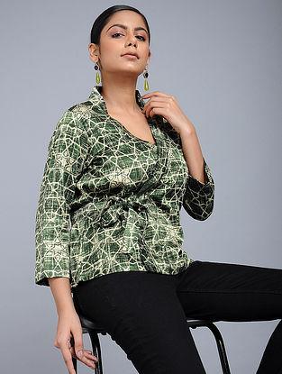 Green Handblock-Brush printed Mashru Silk Top