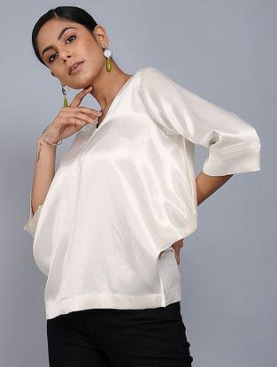 Ivory Mashru Silk Overlay