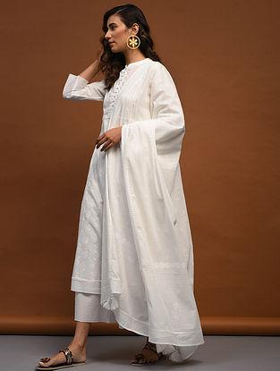 White Block-Printed Cotton Dupatta
