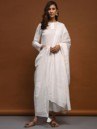 White Block-Printed Cotton Dupatta