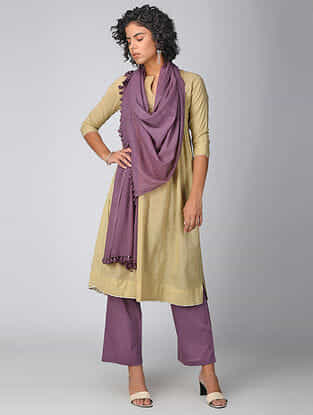 Purple Cotton Dupatta with Tassels