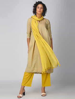 Yellow Handloom Cotton Dupatta with Tassels