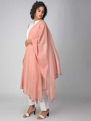 Orange Handloom Cotton Dupatta with Tassels