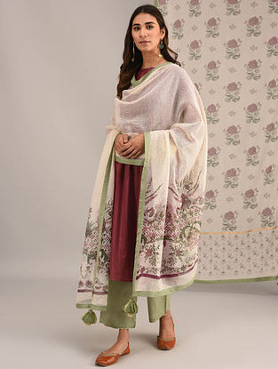 Ivory-Pink Printed Kota Cotton Dupatta with Tassels