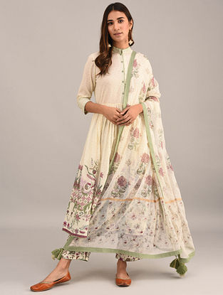 Ivory-Green Printed Kota Cotton Dupatta with Tassels