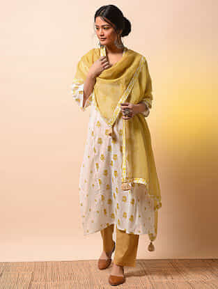 AHILYABAI - Yellow Kota Cotton Dupatta with Printed Border with Tassels