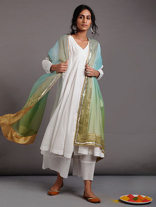 Green Ombre Chiffon Dupatta with Gota