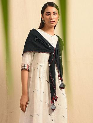 LADIKENI - Black Handloom Cotton Jamdani Scarf with Tassels and Scallops