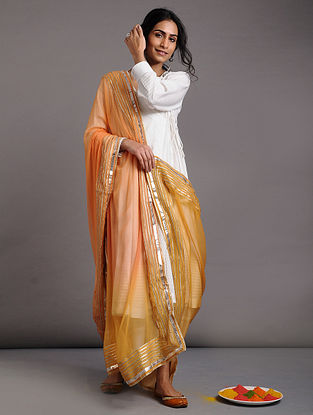 Yellow Ombre Chiffon Dupatta with Gota