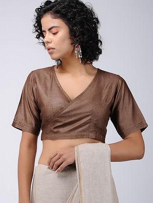 Brown Silk Wrap Blouse