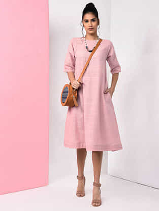 Pink Natural-dyed Handloom Cotton Dress with Pockets