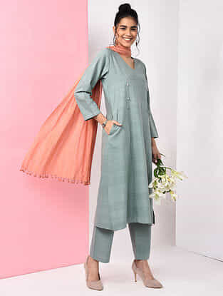 Green Natural-dyed Handloom Cotton Kurta
