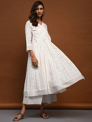 BADIRA - White Block-Printed Cotton Angrakha with Raw Edge Hem