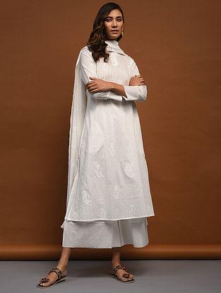 MAHEEN - White Block-Printed Cotton Kurta with Raw Edge Hem