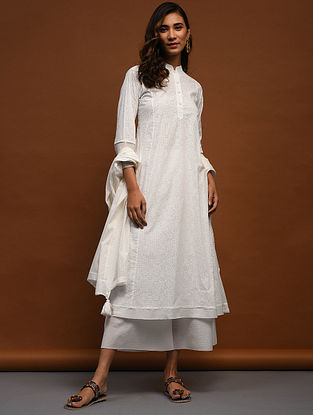 IAH - White Block-Printed Cotton Kurta with Raw Edge Hem