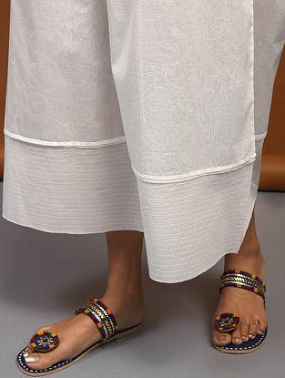 White Elasticated Waist Cotton Palazzo with Raw Edge Hem