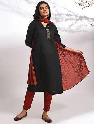 NISHA - Black Cotton Dobby Kurta with Pockets
