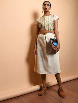 Ivory Cotton Khadi Embroidered Dress