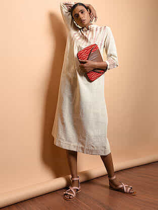 Ivory Cotton Khadi Embroidered Kurta