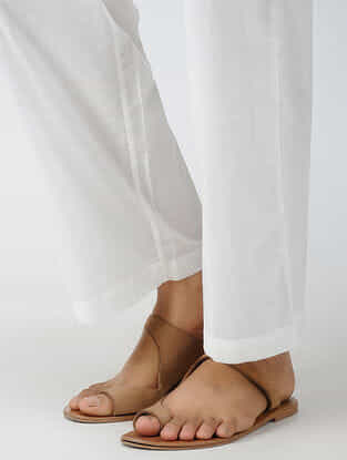 White Elasticated-waist Cotton Pants