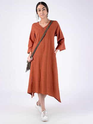 Rust Handloom Cotton Dress with Pockets