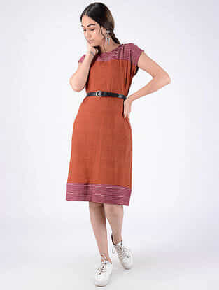 Rust Handloom Cotton Dress with Pockets