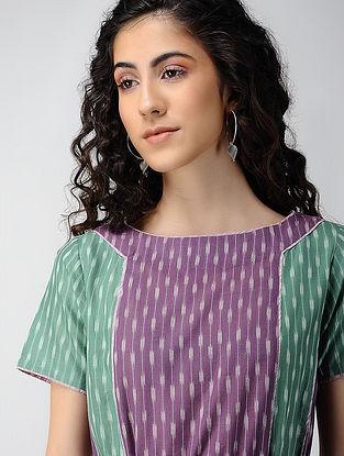 Purple-Green Handloom Ikat Cotton Dress with Pockets