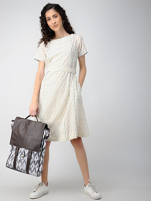 Ivory Handloom Ikat Cotton Dress with Pockets