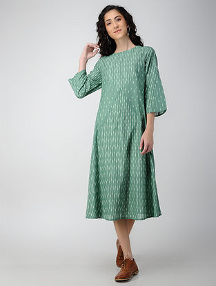 Green Handloom Ikat Cotton Dress with Pockets