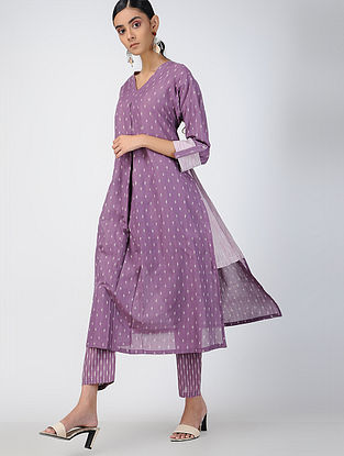 Purple Handloom Ikat Cotton Kurta