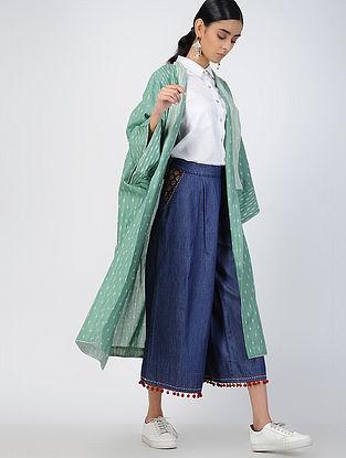 Green Handloom Ikat Cotton Kimono Jacket