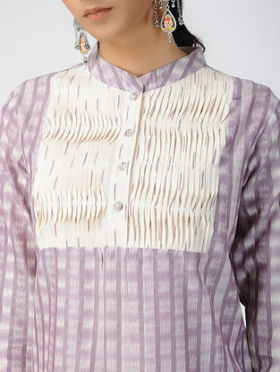 Purple-Ivory Handloom Ikat Cotton Kurta with Pleats