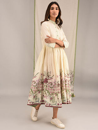 BALASORE - Ivory-Green Printed Cotton Flared Kurta