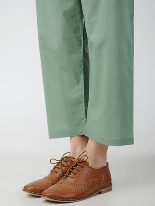 Green Tie-up Waist Cotton Pants