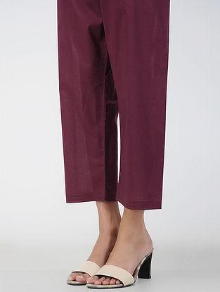 Burgandy Tie-up Waist Cotton Pants