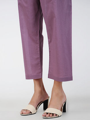 Purple Tie-up Waist Cotton Pants