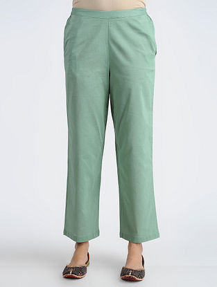 Green Elasticated-waist Cotton Pants
