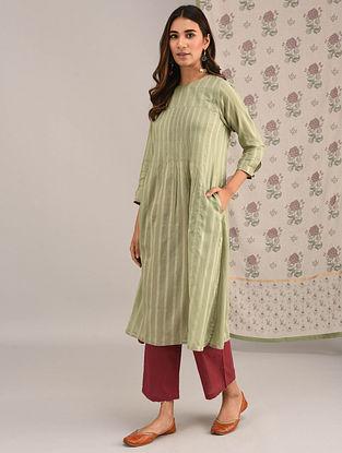 GANJAM - Green Cotton Kurta with Pintucks