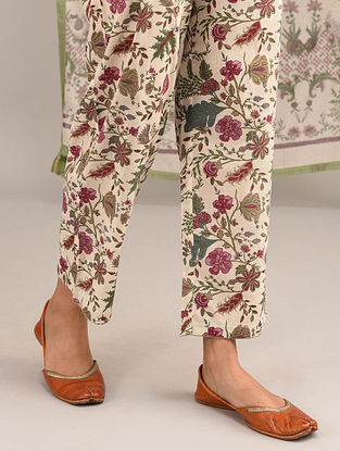 Ivory-Green Elasticated Waist Printed Cotton Pants