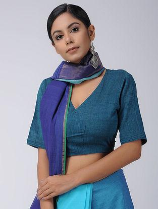 Blue Cotton Wrap Blouse