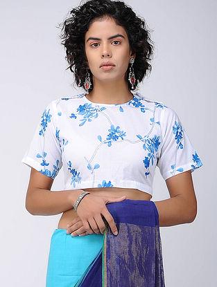 White-Blue Printed Cotton Blouse