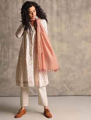 Ivory-Red Handloom Ikat Cotton Kurta with Pleats