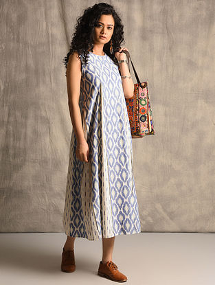 Ivory-Blue Handloom Ikat Cotton Dress