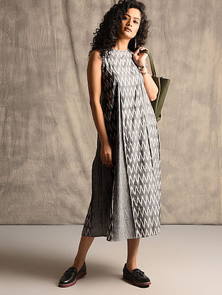 Black-Ivory Handloom Ikat Cotton Dress